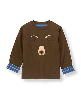 Bear Brown/River Blue Stripe Bear Reversible Tee at JanieandJack