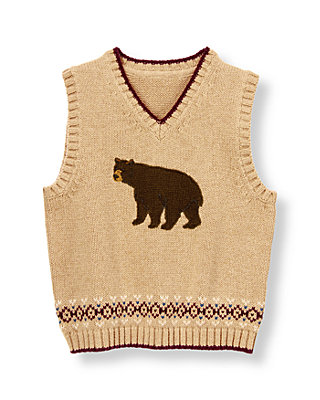 Oak Heather Bear Fair Isle Sweater Vest at JanieandJack