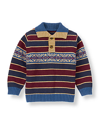 Classic Navy Stripe Fair Isle Stripe Sweater at JanieandJack