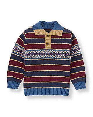 Classic Navy Stripe Fair Isle Stripe Sweater at JanieandJack