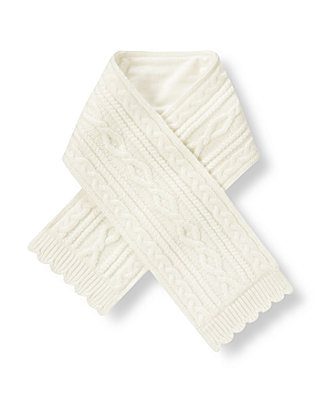 Jet Ivory Cable Sweater Scarf at JanieandJack