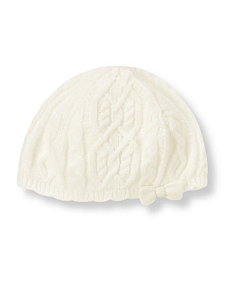 Jet Ivory Cable Sweater Beret at JanieandJack