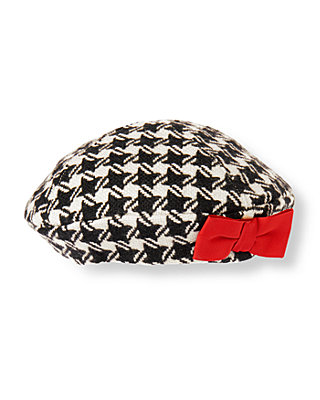 Black Houndstooth Bow Houndstooth Beret at JanieandJack