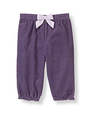 Baby Girl Antique Purple Dot Bow Corduroy Pant at JanieandJack