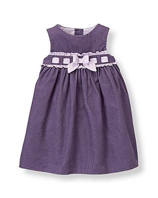 Baby Girl Antique Purple Bow Corduroy Jumper at JanieandJack