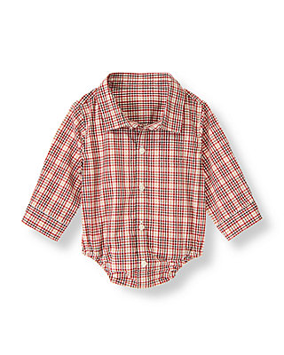 Reindeer Red Plaid Plaid Collared Bodysuit at JanieandJack