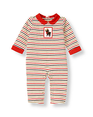 Baby Boy Reindeer Red Stripe Reindeer Stripe One-Piece at JanieandJack