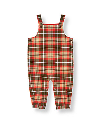 Moose Brown Plaid Plaid Twill Overall at JanieandJack