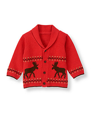 Baby Boy Reindeer Red Reindeer Fair Isle Cardigan at JanieandJack