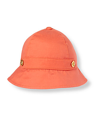 Vibrant Coral Button Hat at JanieandJack