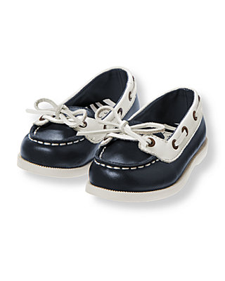 Nautical Navy Leather Boat Shoe at JanieandJack