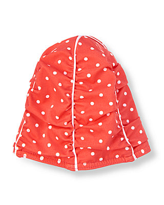 Breezy Coral Dot Dot Ruched Swim Cap at JanieandJack