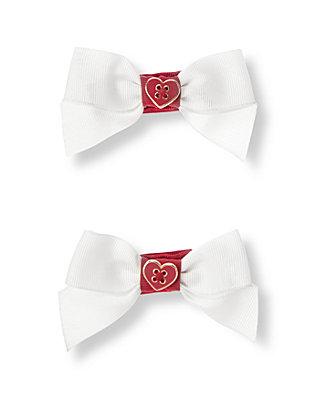 White Heart Bow Barrette Two-Pack at JanieandJack