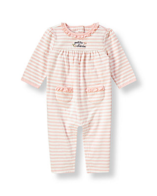 Baby Girl Blush Pink Stripe Ruffle Stripe One-Piece at JanieandJack