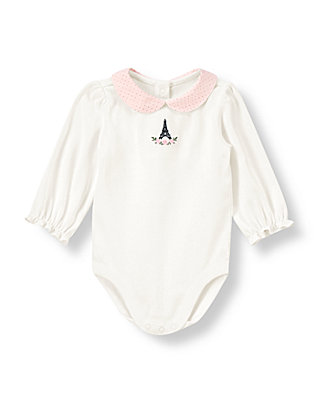 Jet Ivory Eiffel Tower Pindot Collar Bodysuit at JanieandJack