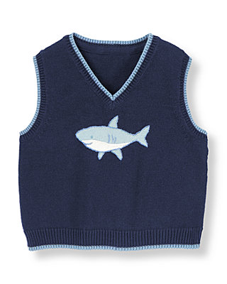 Baby Boy Peacoat Navy Shark Sweater Vest at JanieandJack