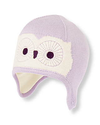 Dainty Lavender Owl Sweater Hat at JanieandJack