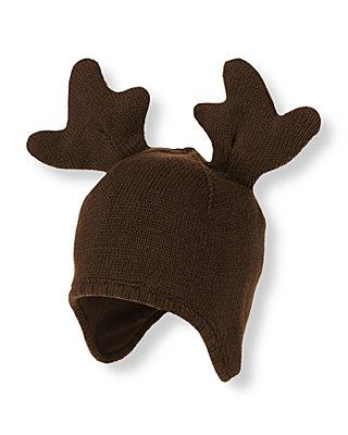 Baby Boy Moose Brown Moose Beanie at JanieandJack