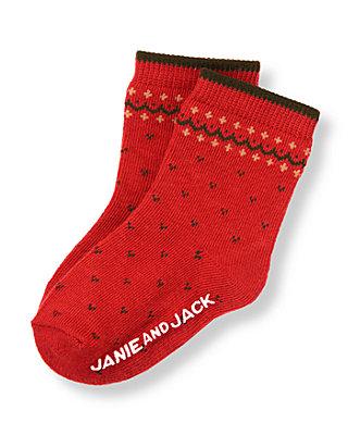 Baby Boy Reindeer Red Fair Isle Sock at JanieandJack