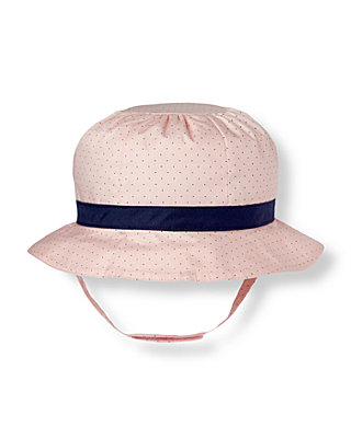 Blush Pink Dot Bow Pindot Poplin Hat at JanieandJack