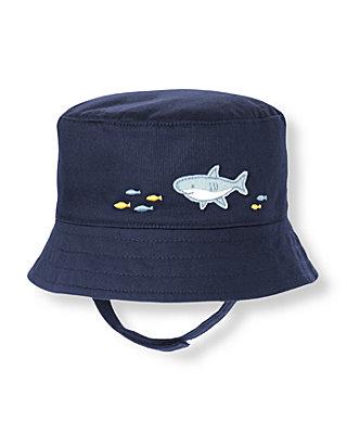 Baby Boy Peacoat Navy Shark Bedford Corduroy Bucket Hat at JanieandJack