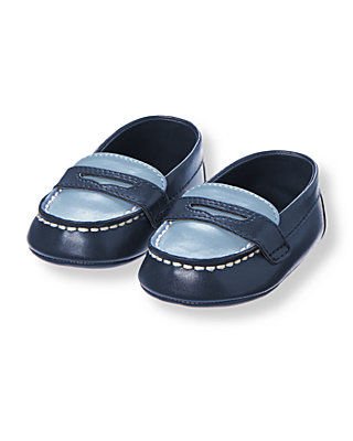 Baby Boy Peacoat Navy Boat Crib Shoe at JanieandJack