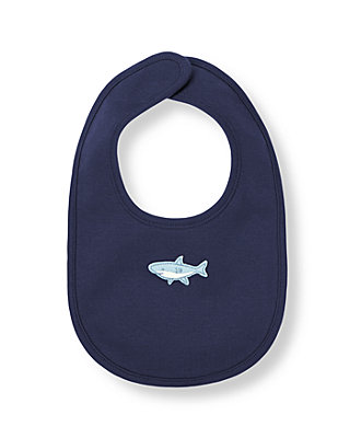 Peacoat Navy/Heathered Blue Stripe Shark Bib at JanieandJack