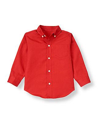 Boys Nutcracker Red Herringbone Dress Shirt at JanieandJack