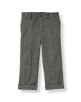Grey Tweed Cuffed Wool Blend Tweed Trouser at JanieandJack