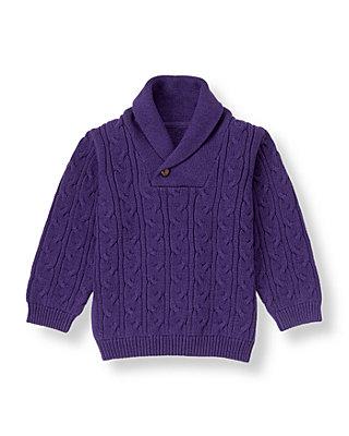 Boys Festive Purple Shawl Collar Sweater at JanieandJack