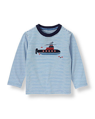Blue Stripe Submarine Stripe Tee at JanieandJack