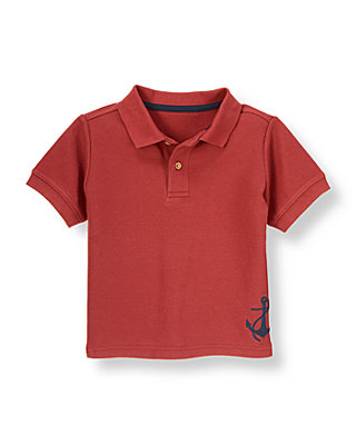 Boys Brick Red Anchor Polo Shirt at JanieandJack
