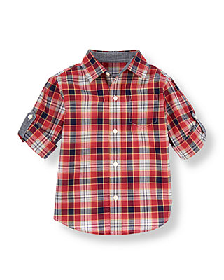 Marine Red Plaid Plaid Poplin Roll Cuff Shirt at JanieandJack