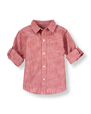 Red Chambray Chambray Roll Cuff Shirt at JanieandJack