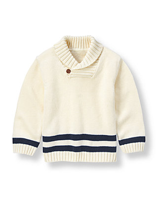 Rich Ivory Shawl Collar Sweater at JanieandJack