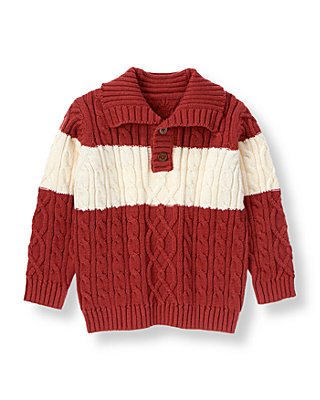 Marine Red Stripe Cable Sweater at JanieandJack