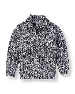 Navy Marl Marled Cable Sweater Cardigan at JanieandJack