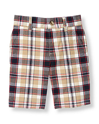 Tan Plaid Plaid Canvas Short at JanieandJack