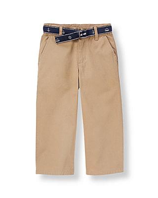 Khaki Belted Twill Pant at JanieandJack