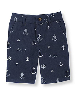 Navy Anchor Anchor Twill Short at JanieandJack