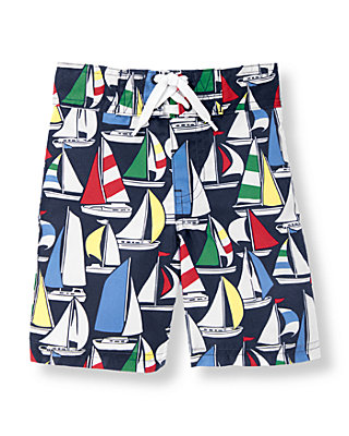 Navy Sailboat Sailboat Swim Trunk at JanieandJack