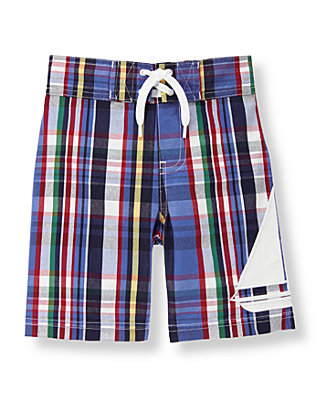 Sea Blue Plaid Plaid Sailboat Swim Trunk at JanieandJack