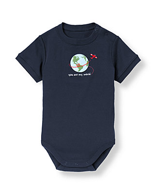 Dark Navy Valentine Globe Bodysuit at JanieandJack