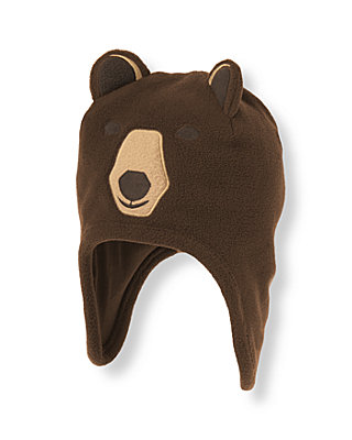 Boys Bear Brown Bear Microfleece Earflap Hat at JanieandJack
