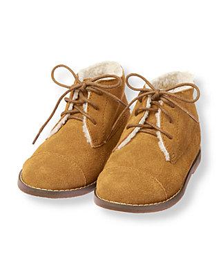 Honey Brown Sherpa Trim Suede Boot at JanieandJack
