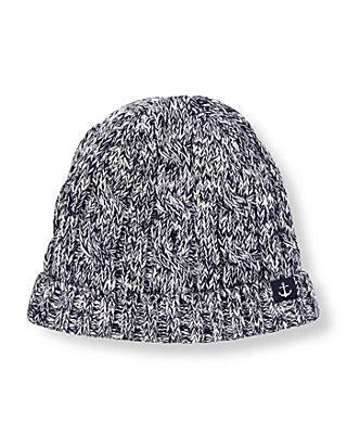 Boys Navy Marl Marled Sweater Hat at JanieandJack