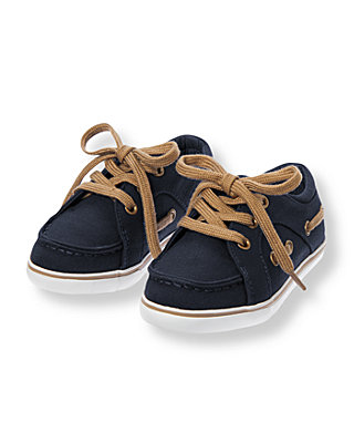 Nautical Navy Canvas Boat Shoe at JanieandJack