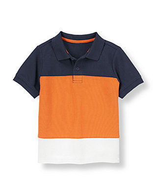 Dark Orange/Navy Pieced Colorblock Polo Shirt at JanieandJack