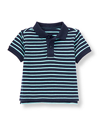 Navy/Sky Blue Stripe Stripe Polo Shirt at JanieandJack