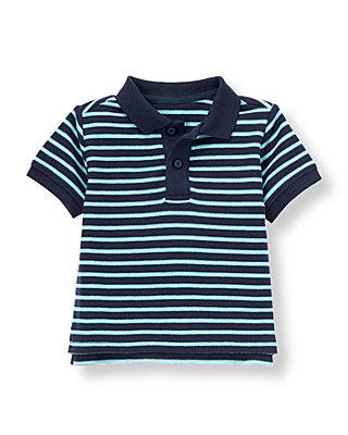 Navy/Sky Blue Stripe Stripe Polo Shirt at JanieandJack